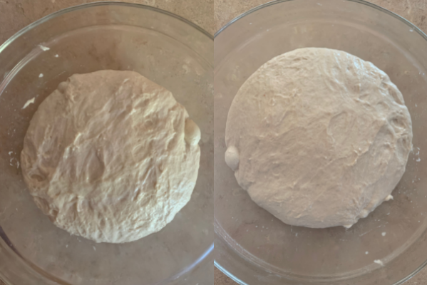 dough before and after its overnight rest
