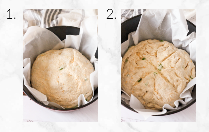 placing dough in dutch oven