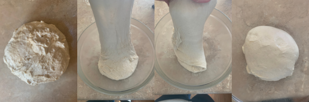 stretching and folding dough